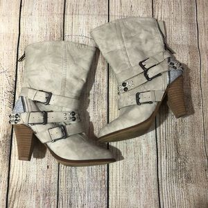 Not Rated beige heeled boots with sparkle heel